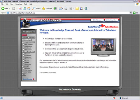 This site was for Bank of America's Knowledge Channel. It featured a Television Design and an ordering system.